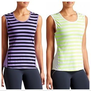 2 Athleta Ocean Stripe Chi Muscle Tanks - Size M